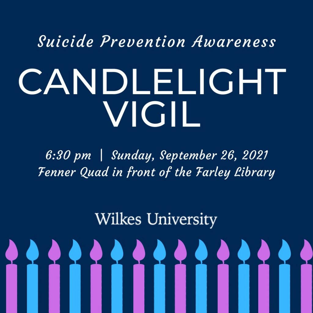 blue poster with candles for suicide prevention candlelight vigil on sept. 26 at 6:30 p.m.